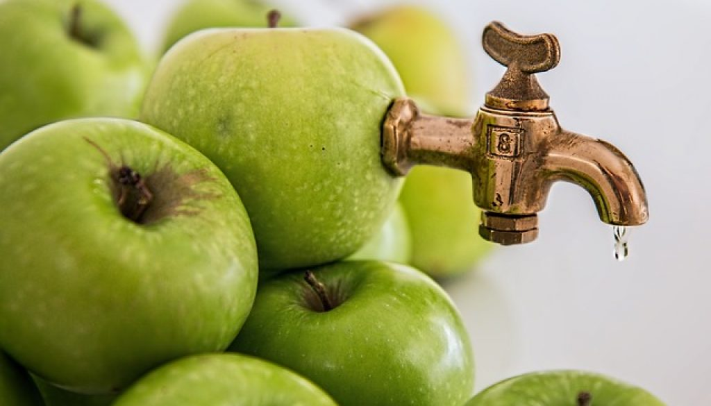 apple with spout coming out of the top