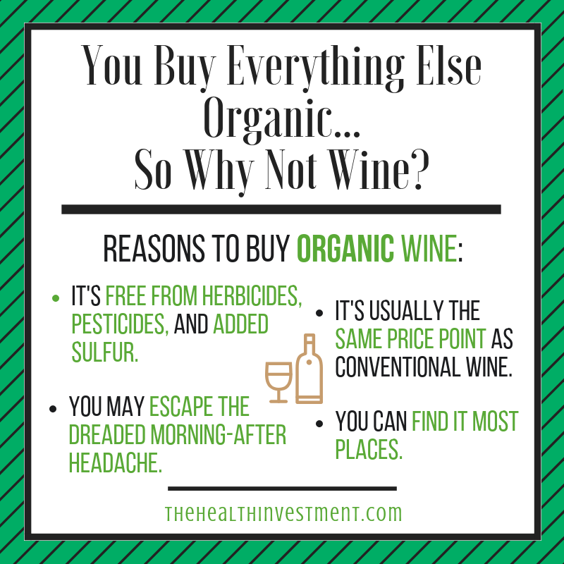 Infographic listing the reasons to buy organic wine