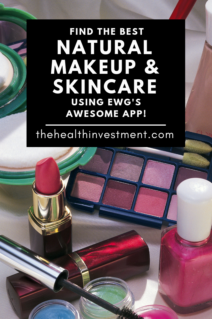 Picture of lipstick, eyeshadow, nail polish, and mascara behind black box with title - Find The Best Natural Makeup & Skincare Using EWG's Awesome App