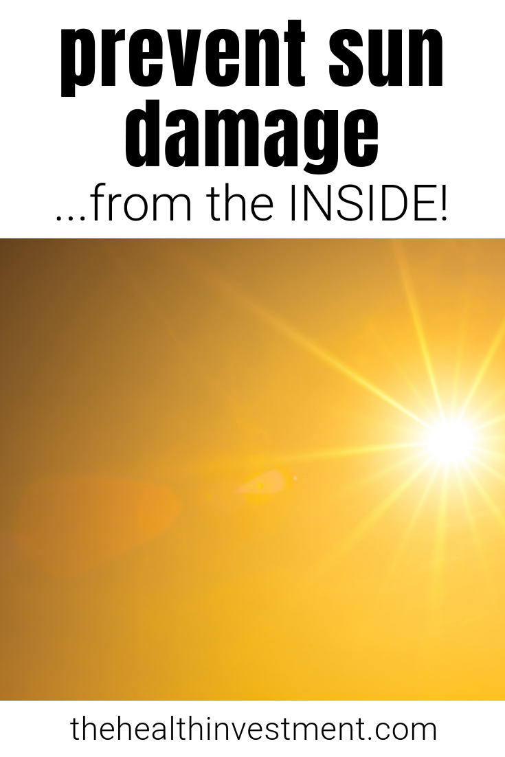 Picture of sunshine below title - Prevent sun damage...from the inside!