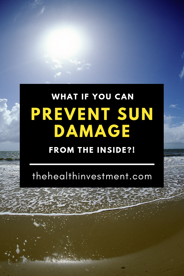 Picture of sunny beach behind title - What If You Can Prevent Sun Damage From The Inside?!