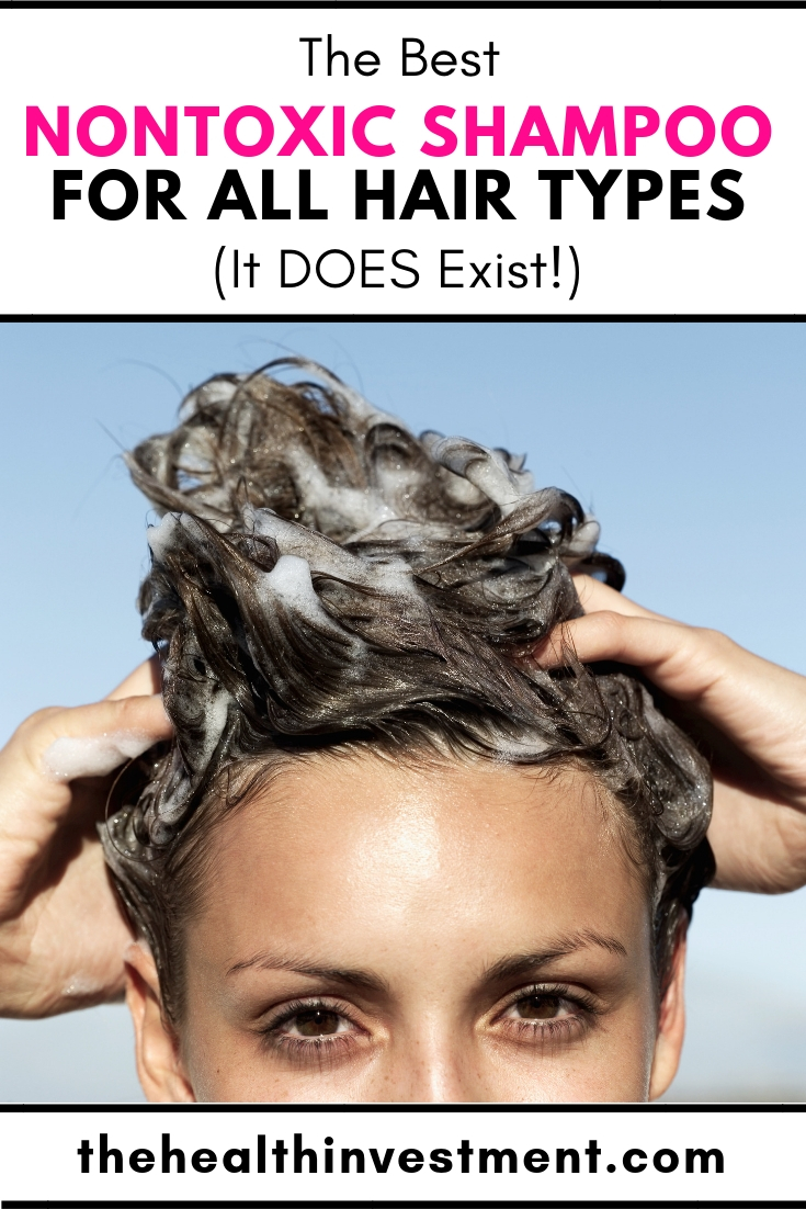 Picture of woman washing hair below title - The Best Nontoxic Shampoo For All Hair Types (It DOES Exist!)