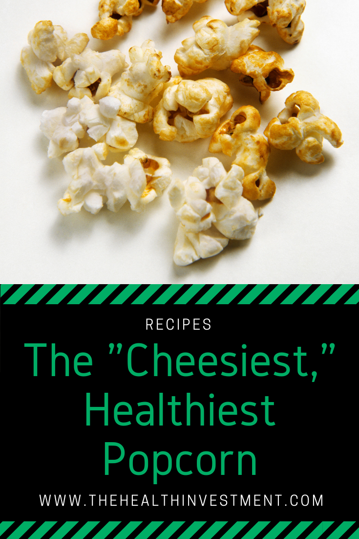 Picture of popcorn above title - Dairy-free but cheesy, healthy popcorn recipe