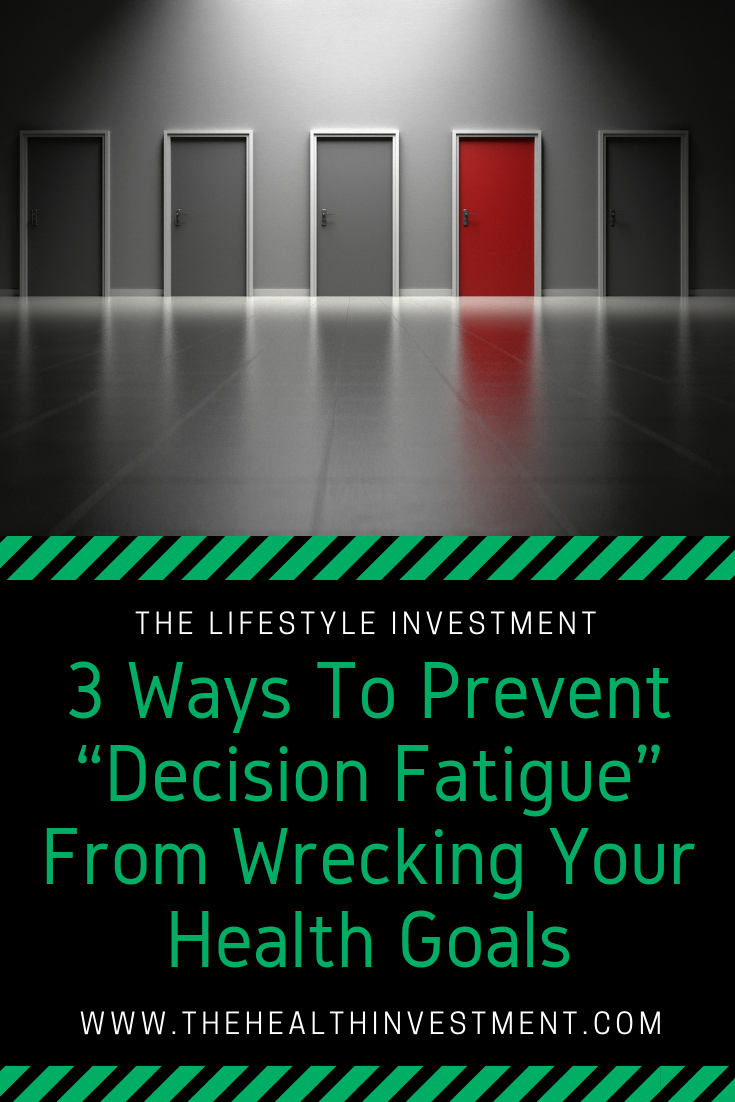 Picture of a hallway of doors above title - 3 Ways To Prevent Decision Fatigue From Wrecking Your Health Goals