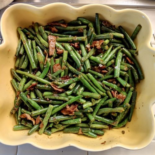 Green beans sautéed with bacon salt pepper and olive oil