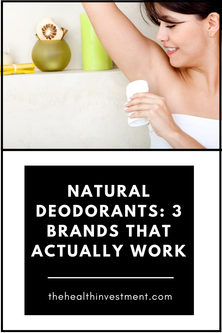 Picture of woman wearing a towel applying deodorant to her armpit above title - Natural Deodorants: 3 Brands That Actually Work