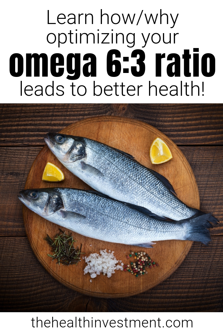 Picture of fish on a platter below title - Learn how/why optimizing your omega 6:3 ratio leads to better health!