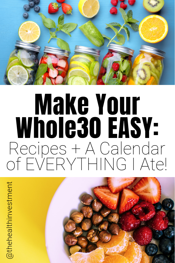 Pictures of healthy food above and below title - Make Your Whole30 Easy: Recipes + A Calendar of EVERYTHING I Ate!