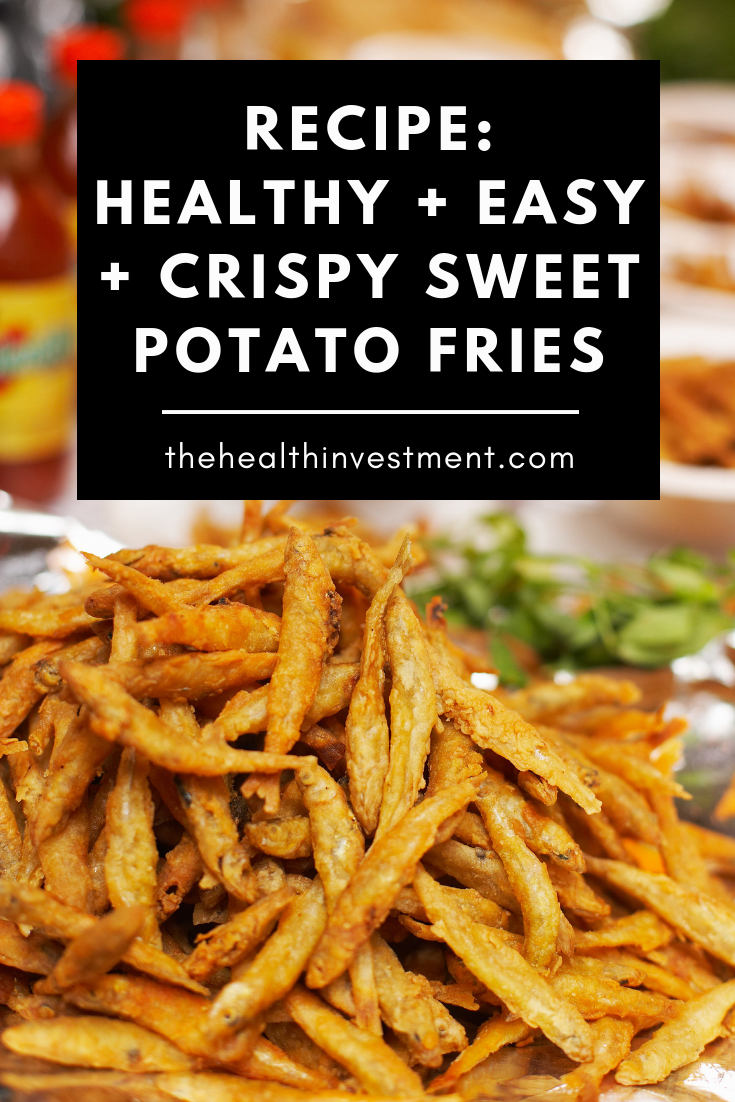 Picture of a pile of sweet potato fries on a plate above title - Healthy, Easy, Crispy Sweet Potato Fries Recipe