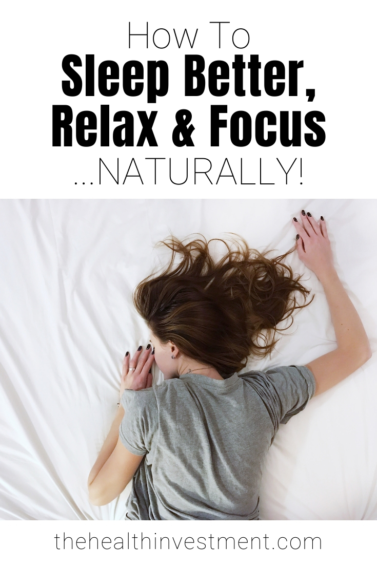 Picture of sleeping woman below title - How To Sleep Better, Relax & Focus...NATURALLY!