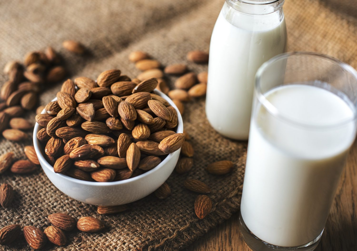 bowl of almonds next to a pitcher and a glass of almond milk