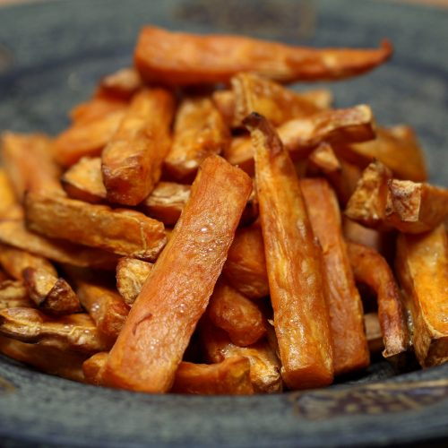 sweet potato fries in ceramic bowl
