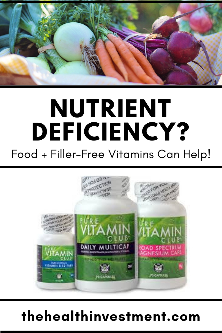 "picture of vegetables above title and picture of vitamins below title - Title: Nutrient Deficiency"" Food + Filler-Free Vitamins Can Help!"