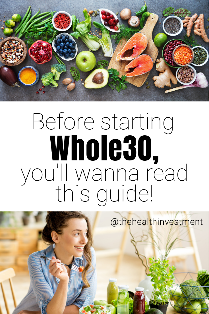 Pictures of healthy food and a woman eating healthy food above and below title - Before starting Whole30, you'll wanna read this guide!
