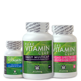Picture of Pure Vitamin Club vitamins - the combo pack of vitamin B-12, a daily multicap, and magnesium