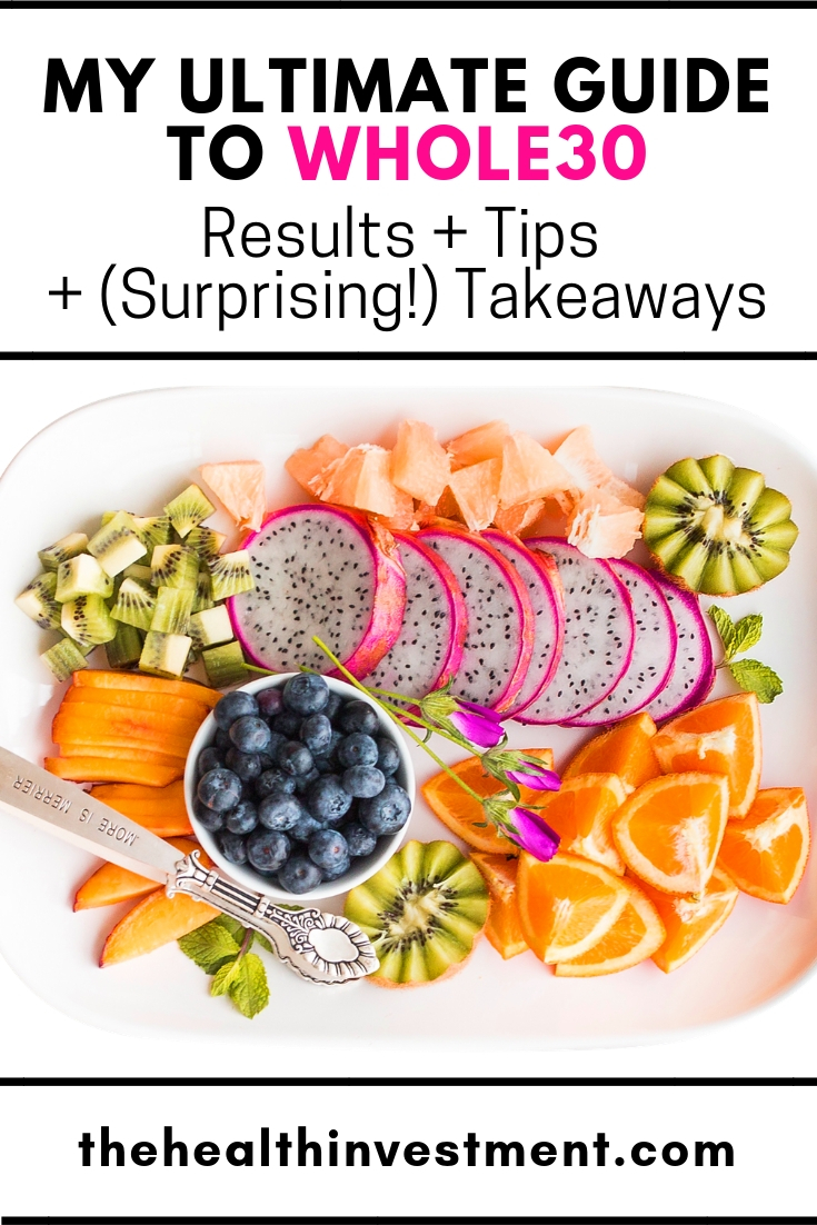 Picture of a fruit platter below title - My Ultimate Guide To Whole30: Results + Tips + (Surprising!) Takeaways!