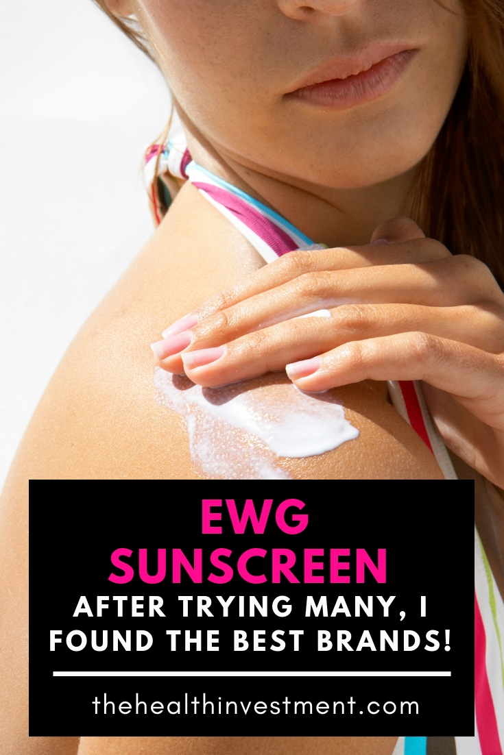 Picture of woman applying sunscreen to her shoulder in background of title - EWG Sunscreen: After Trying Many, I Found The Best Brands!
