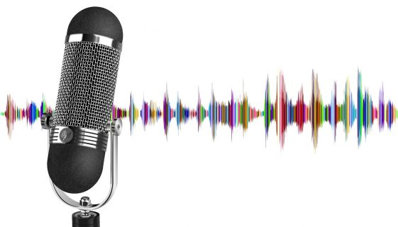 Picture of microphone with colorful sound waves