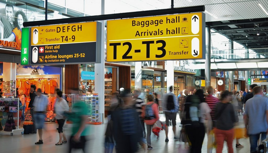 Picture of yellow signs in a busy airport