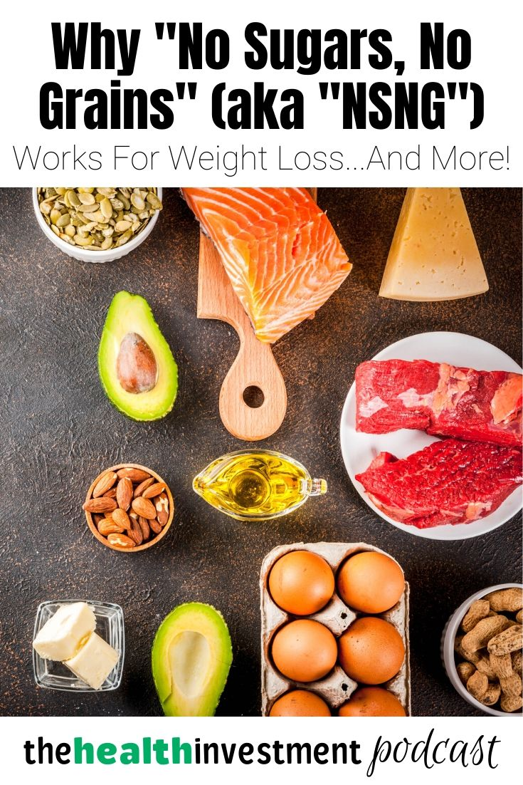 "Picture of healthy fats and proteins below title - Why ""No Sugars, No Grains"" (aka ""NSNG"") Works For Weight Loss...And More!"