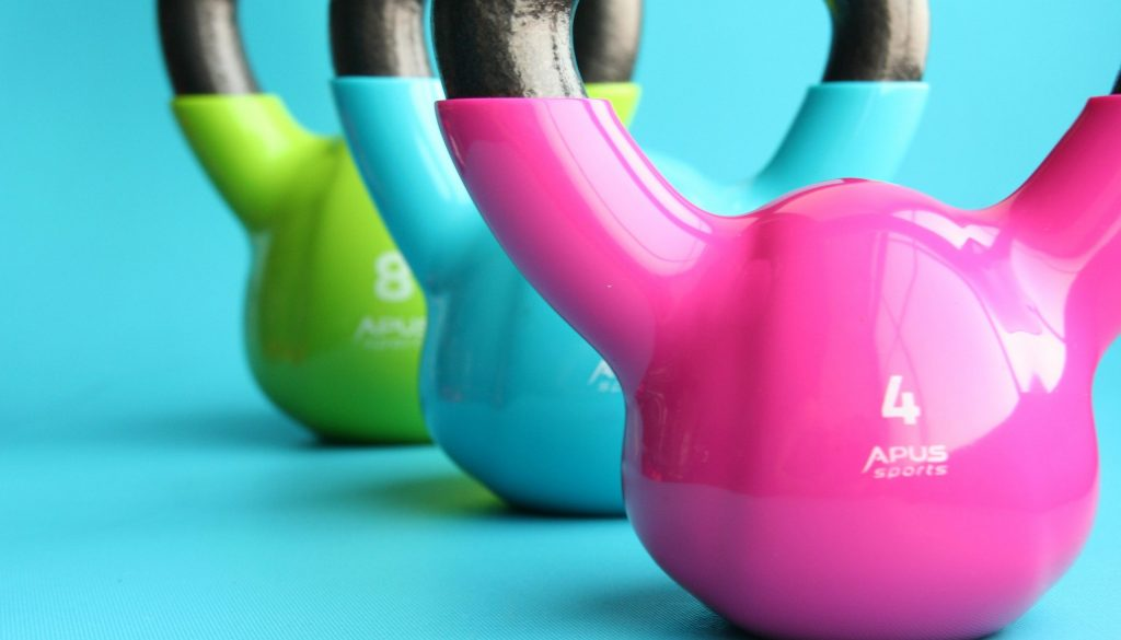 Picture of colorful kettlebells