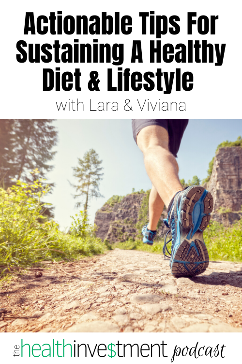 Picture of person running on trail below title: Actionable Tips For Sustaining A Healthy Diet & Lifestyle with Lara & Viviana