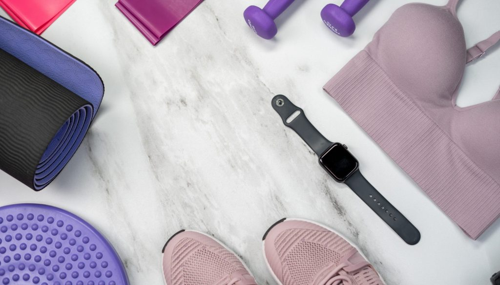 Picture of workout equipment laid out