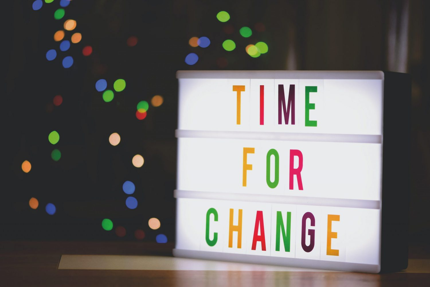 """Board showing the words """"Time For Change"""