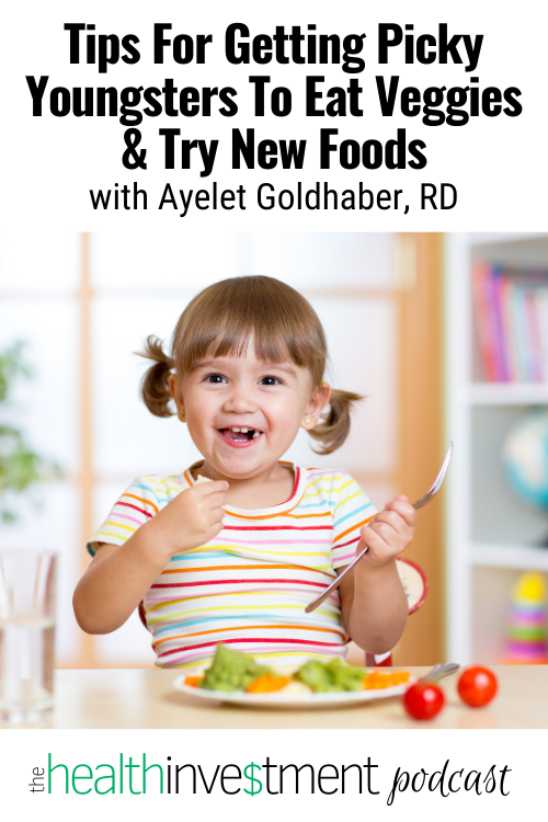 Image of happy child eating vegetables below title - Tips For Getting Picky Youngsters To Eat Veggies And Try New Foods