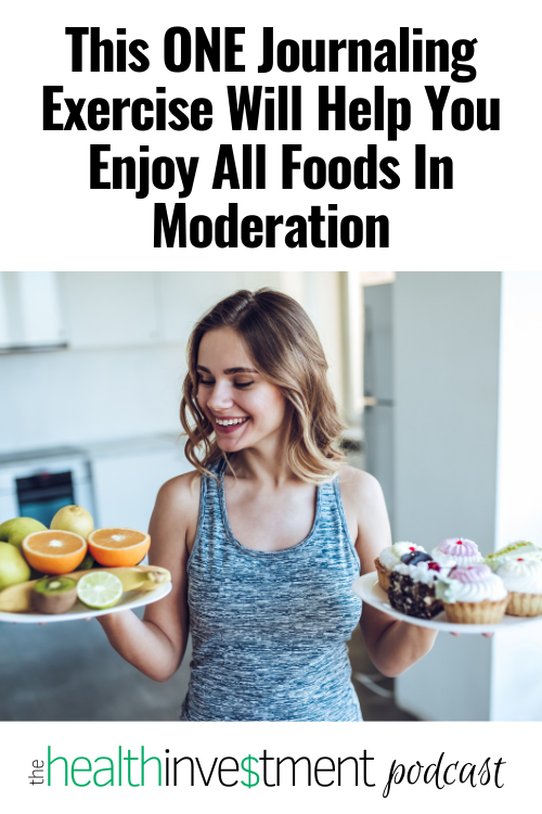Image of woman looking at two plates of food below title: This ONE Journaling Exercise Will Help You Enjoy All Foods In Moderation