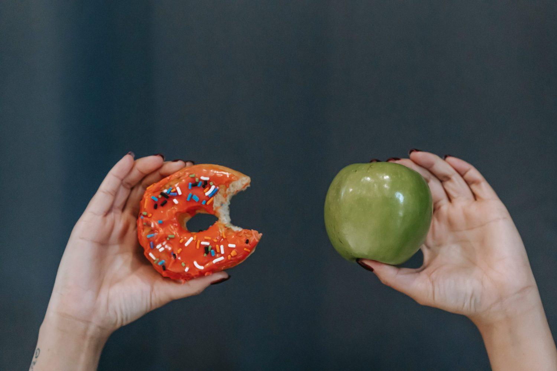 Image of donut vs apple