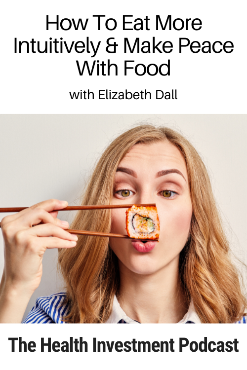 Image of woman looking at sushi below title - How To Eat More Intuitively And Make Peace With Food
